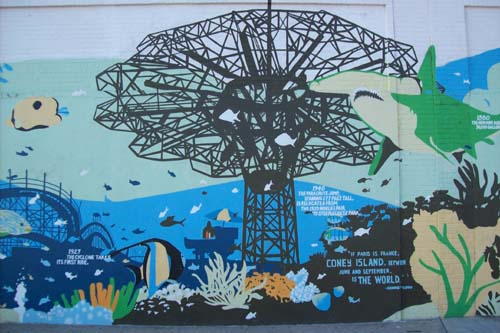 History of Coney Island and Brooklyn Aquarium - mural wall